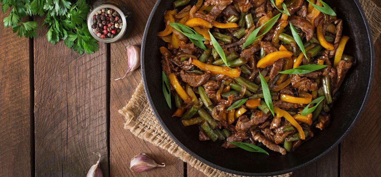 stir fry beef in pan