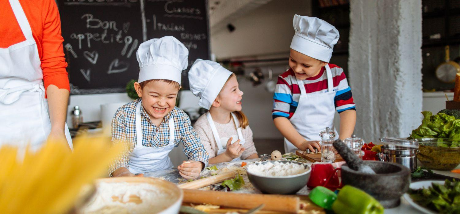 kids having fun cooking
