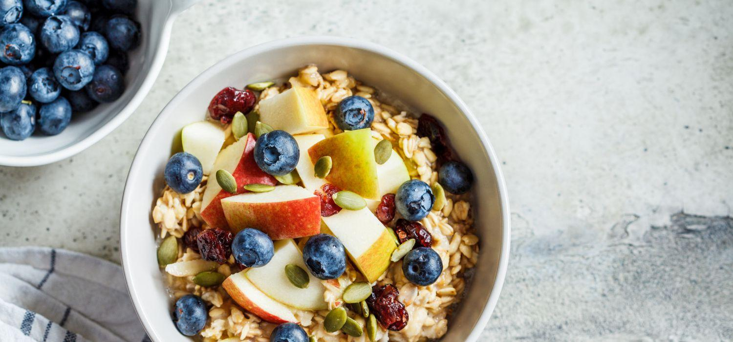 fruit and oatmeal in a bowl
