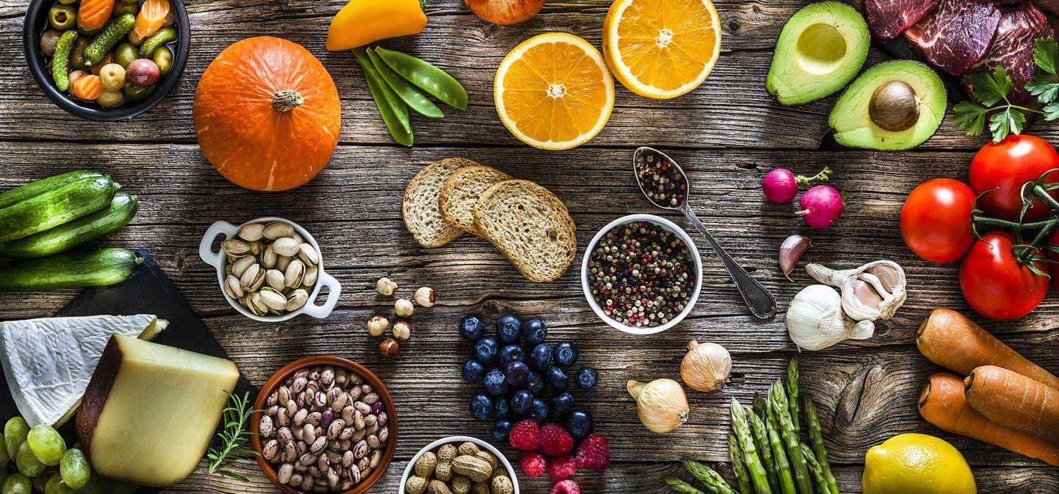 healthy food ingredients on a table