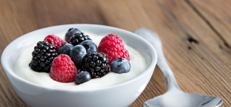 fruit on yoghurt in a bowl