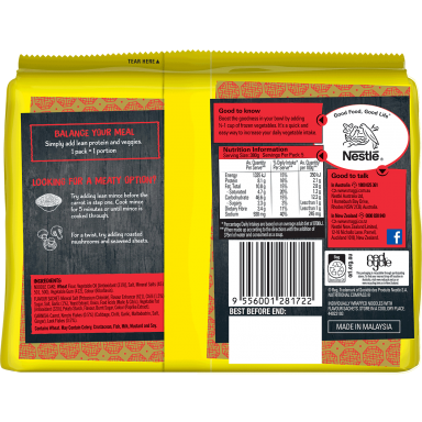MAGGI FUSIAN Soupy Noodles Korean Style Kimchi Flavour - Back of Pack