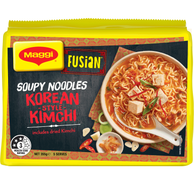 MAGGI FUSIAN Soupy Noodles Korean Style Kimchi Flavour - Front of Pack