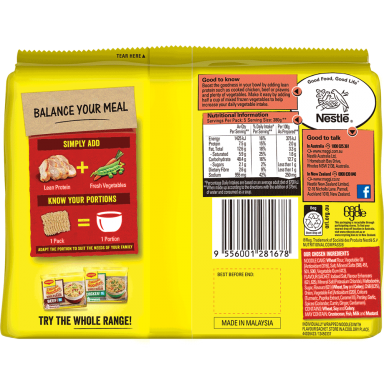MAGGI 2 Minute Noodles Spicy Chicken Flavour - Back of Pack