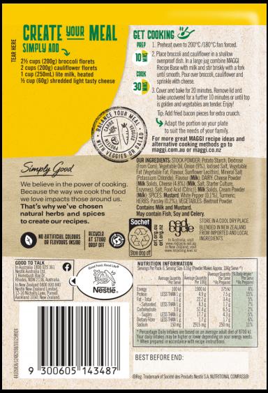 MAGGI Cheesy Broccoli & Cauliflower Bake Side Dish Serves 6 - Back of Pack
