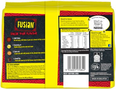 MAGGI FUSIAN Noodles Mi Goreng Hot & Spicy Flavour - Back of Pack