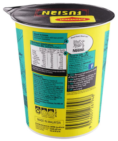MAGGI FUSIAN Soupy Noodles Japanese Teriyaki Flavour Cup - Back of Pack