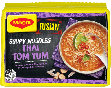 MAGGI FUSIAN Soupy Noodles Thai Tom Yum Flavour - Front of Pack