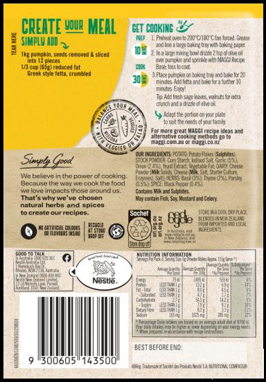 MAGGI Herb Pumpkin & Fetta Bake Side Dish Serves 6 - Back of Pack