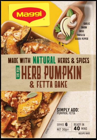 MAGGI Herb Pumpkin & Fetta Bake Side Dish Serves 6 - Front of Pack