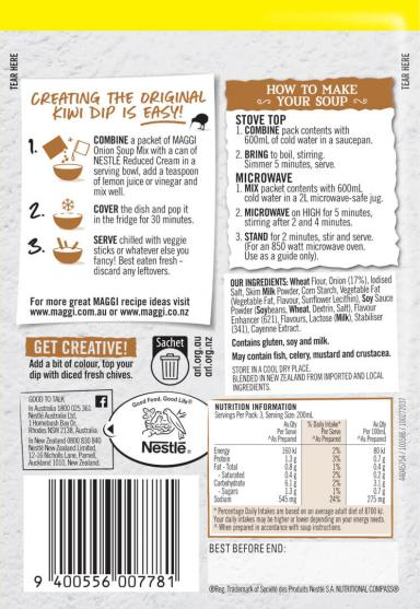 MAGGI Onion Flavoured Soup Mix - Back of Pack