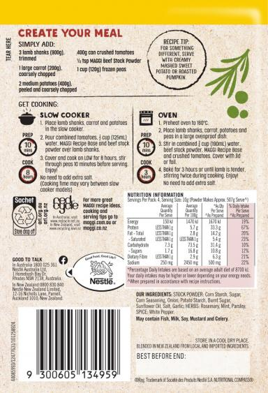 MAGGI Slow Cooker Juicy Lamb Shanks Recipe Base - Back of Pack